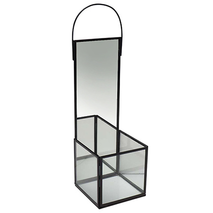Zwarte design wandkandelaar met spiegel