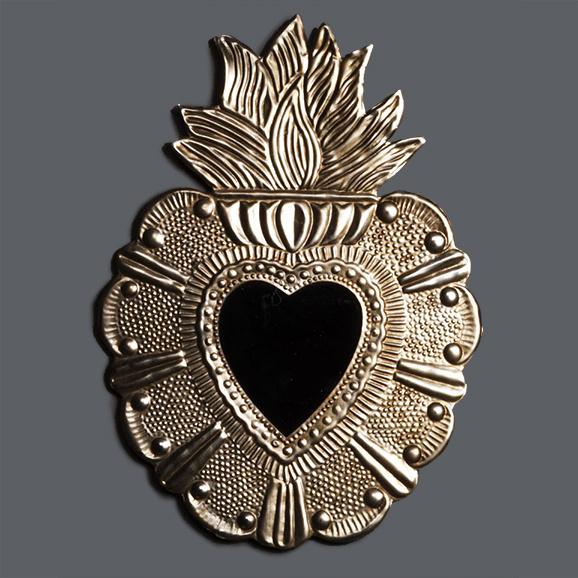 Ex voto heart shaped mirror