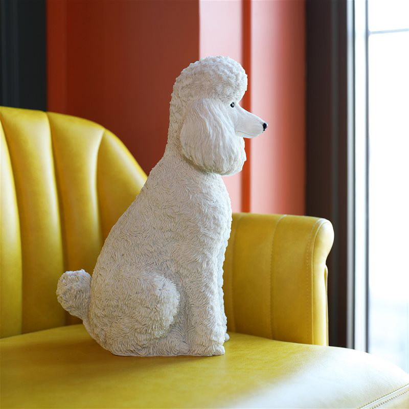 White poodle coin bank