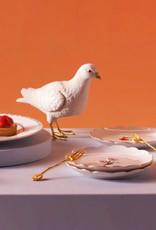 Wit met gouden duif spaarpot of beeld
