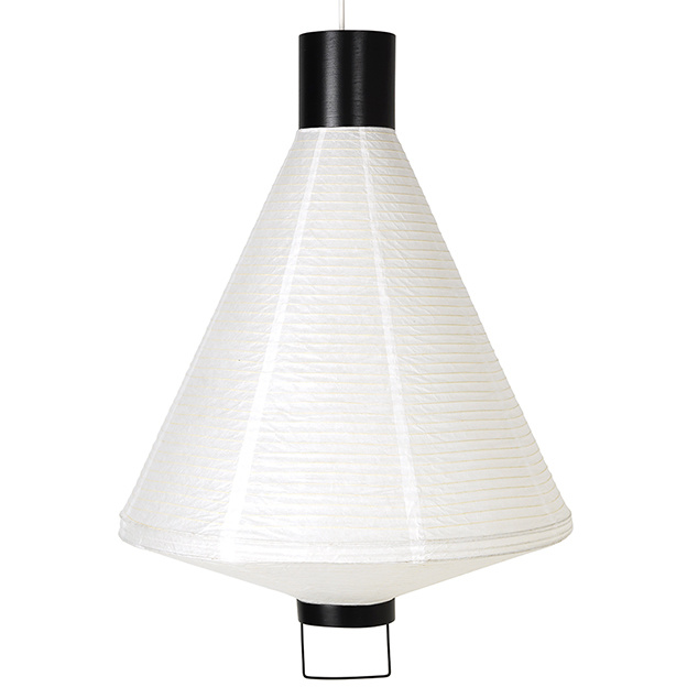 Design hanglamp van wit rijstpapier en zwart hout