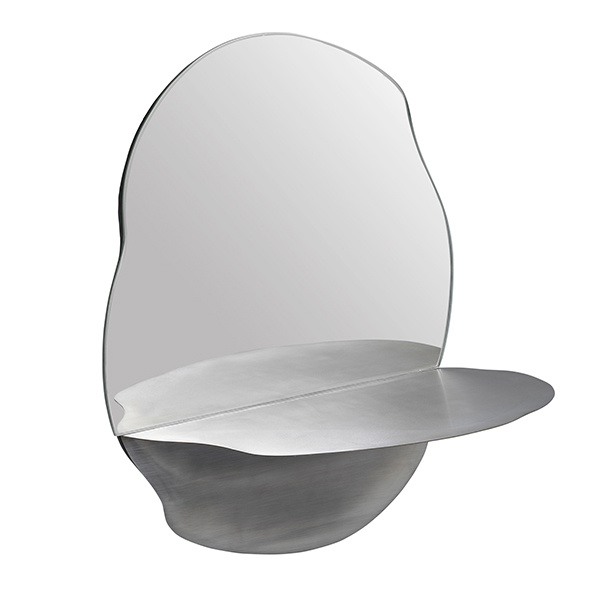 Danish design organic shaped mirror with shelve