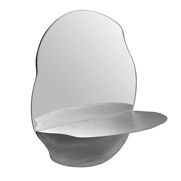 Organische vorm design spiegel met wandplank