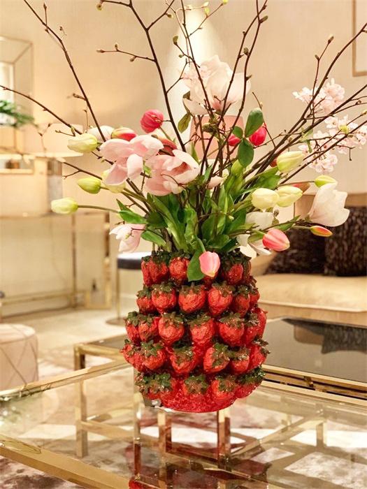 Red ceramic strawberries vase or planter