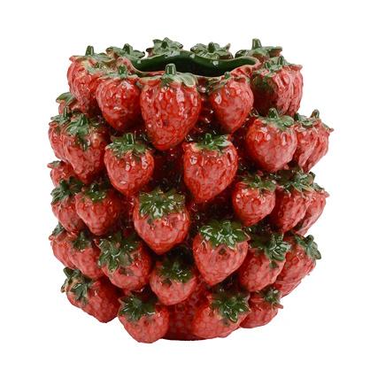 Rode aardbeien vaas van keramiek
