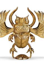 Gold metal scarab candlestick