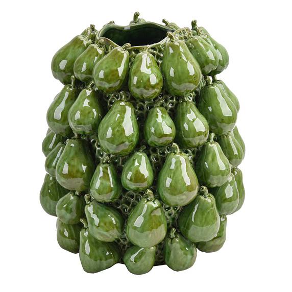 Green ceramic pears fruit vase