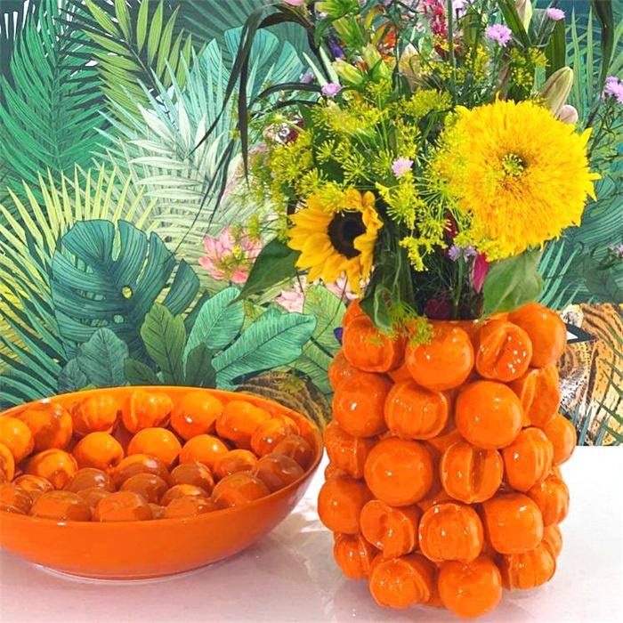 Large ceramic orange vase or planter
