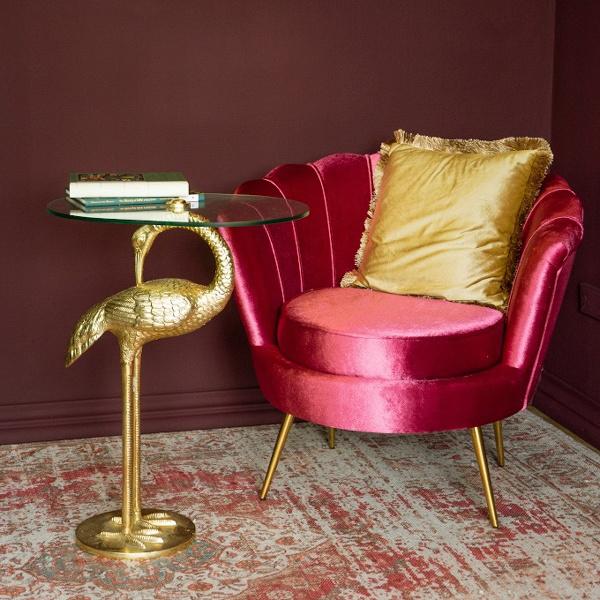 Gold crane bird side table