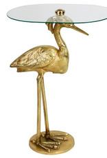Gouden bijzettafel in de vorm van een reiger vogel
