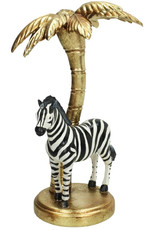 Zebra with gold palm tree candlestick