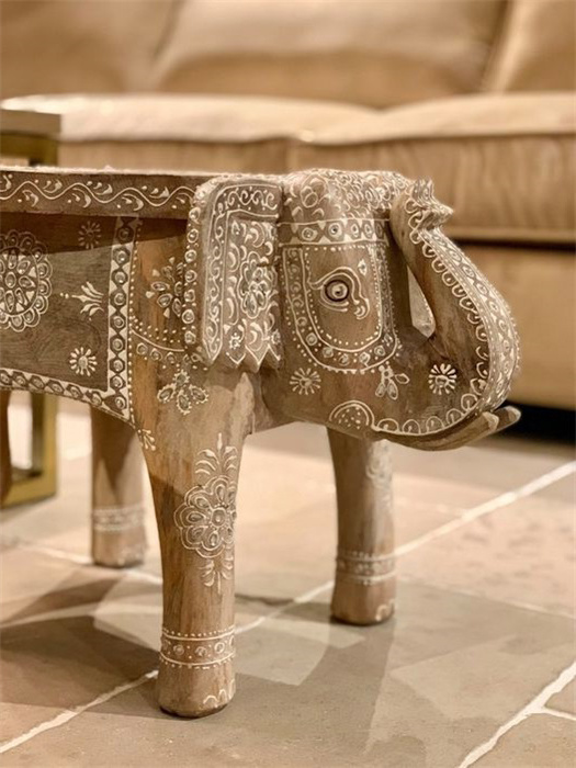 Houten olifant bijzettafeltje