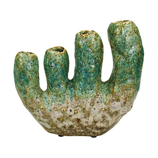 Green ceramic coral vase