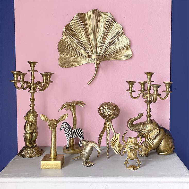 Large gold elephant candle holder