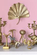 Gold ginkgo leaf wall candle holder