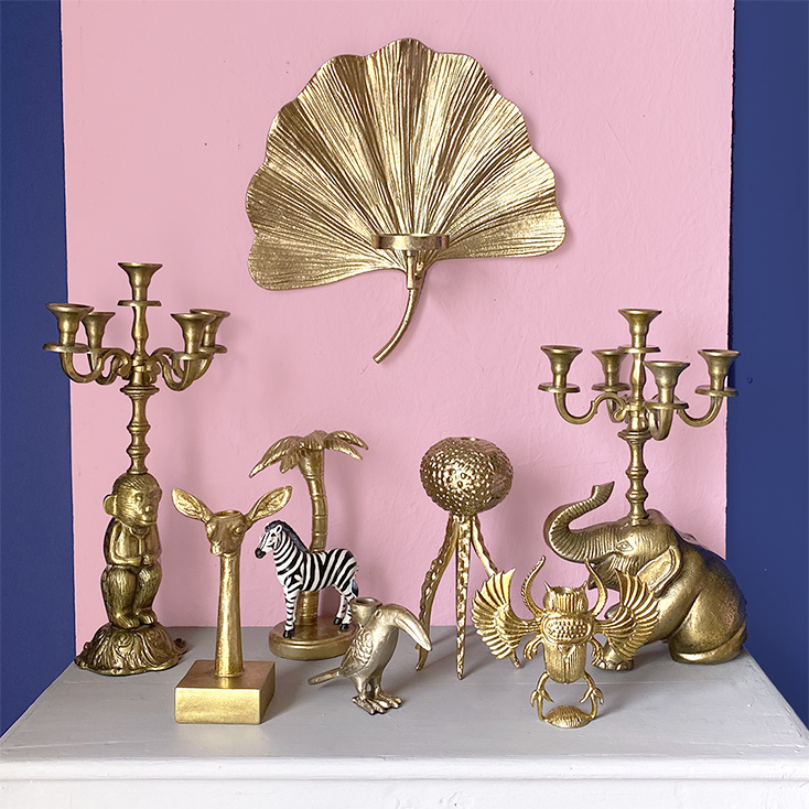 Gold deer candlestick