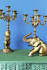 Large gold monkey candle holder
