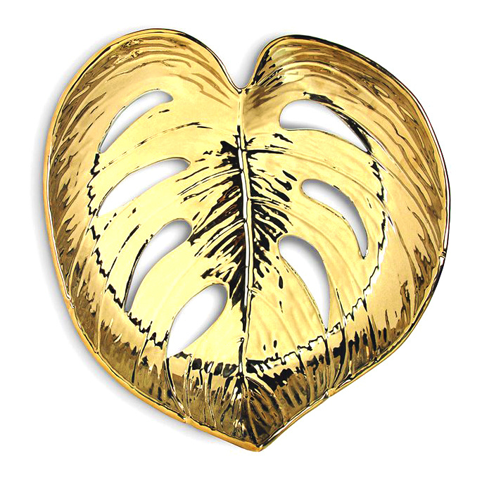 Gold ceramic leaf dish or bowl