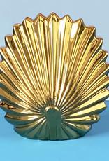 Gouden schelp vaas van keramiek