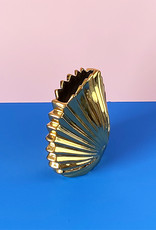 Gold ceramic shell vase