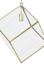 Gouden kubus hanglamp met glas