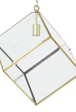 Gold cube pendant lamp with glass