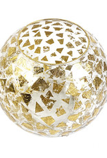 Glazen bol vaas met gouden spikkels