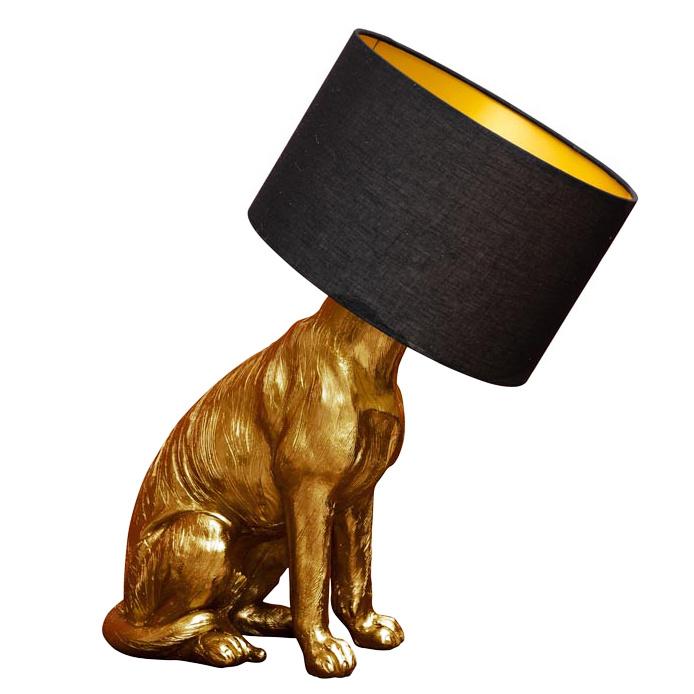 Gouden hond tafellamp of vloerlamp