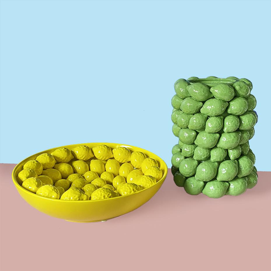 Groene citroenvaas van keramiek