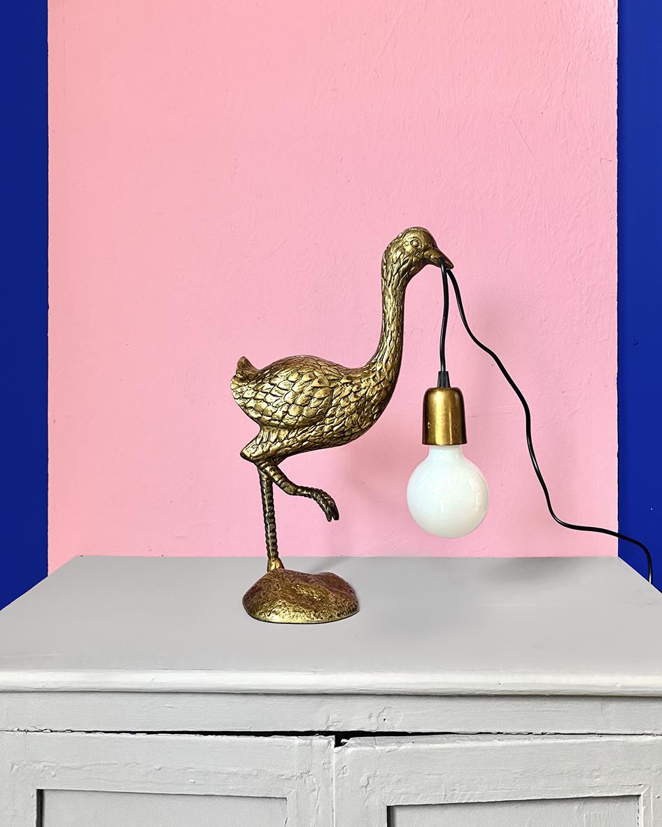 Gold ostrich bird table lamp