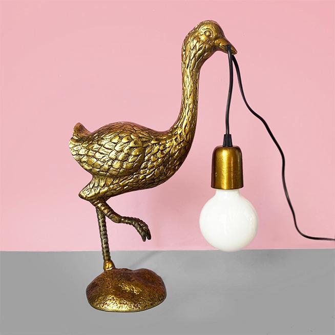 Gouden struisvogel tafellamp