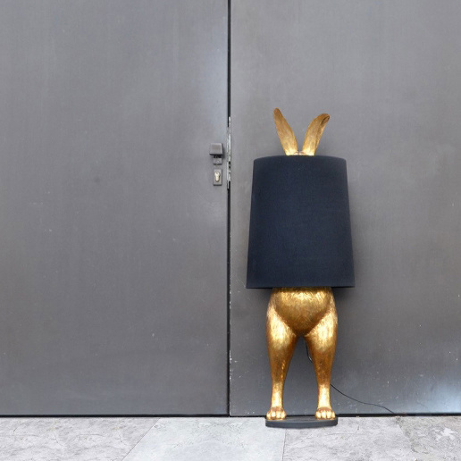 Large gold hiding rabbit floor or table lamp