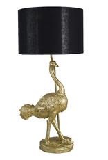 Gouden struisvogel tafellamp met zwarte kap