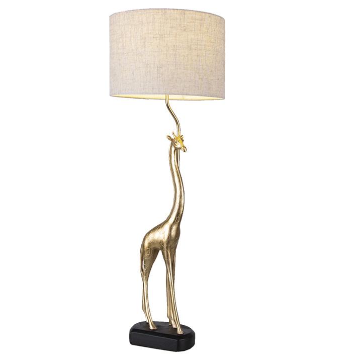 Gouden giraffe tafellamp met linnen kap
