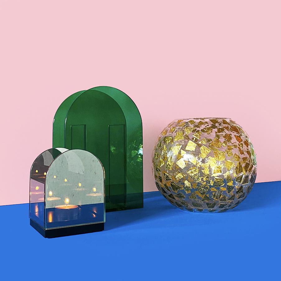 Moderne design waxinelichthouder van rookglas