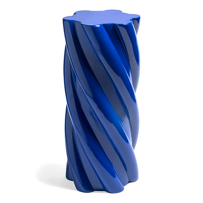 Modern and quirky design blue side table or pillar