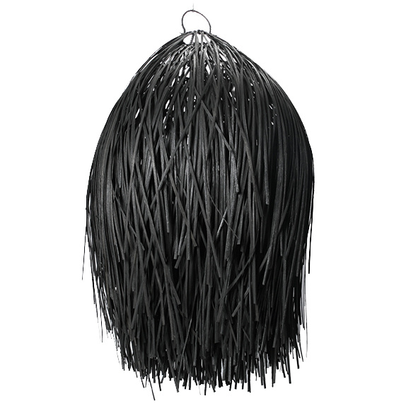 Boho style black rattan wood pendant light