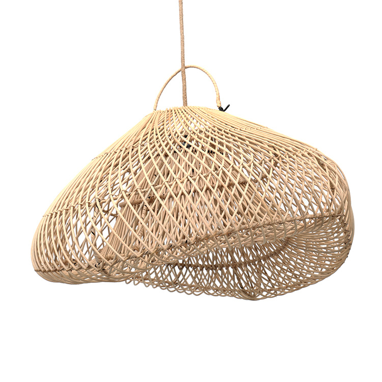 Boho style natural rattan wood pendant light