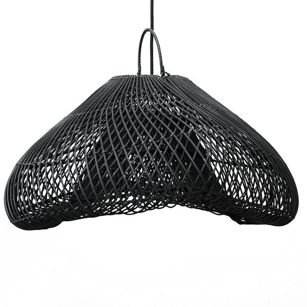 "Boho style black rattan wood pendant light ""Cloud"""