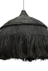 Zwarte boho chic stijl hanglamp van abaca touw