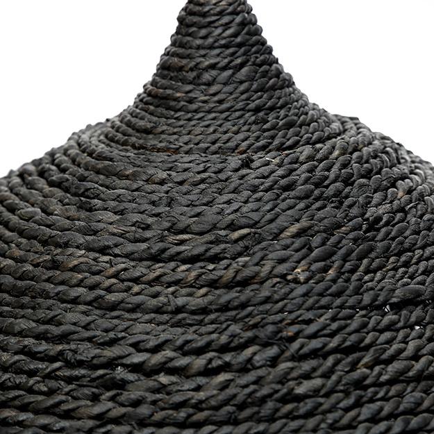 Boho style black abaca grass pendant light