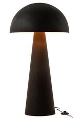 Mat zwart metalen design vloerlamp in de vorm van een paddestoel