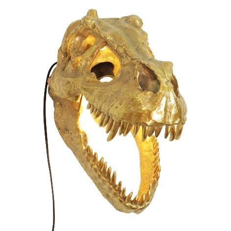 Gold T-rex dino skull wall light
