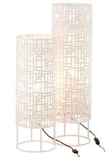 """White round metal table lamp """"Miami"""""""