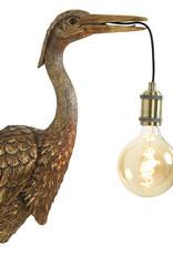 Brons kleurig kraanvogel dierenkop wandlamp