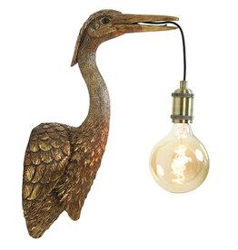 Crane bird wall light  / Bronze