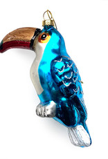 Kersthanger van glas in de vorm van een toekan vogel