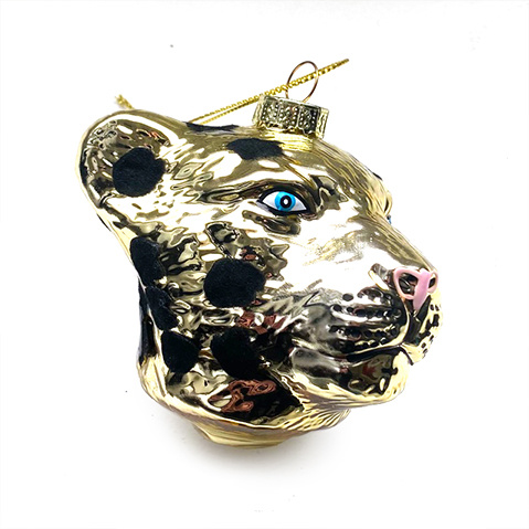 Gold glass panther Christmas tree ornament