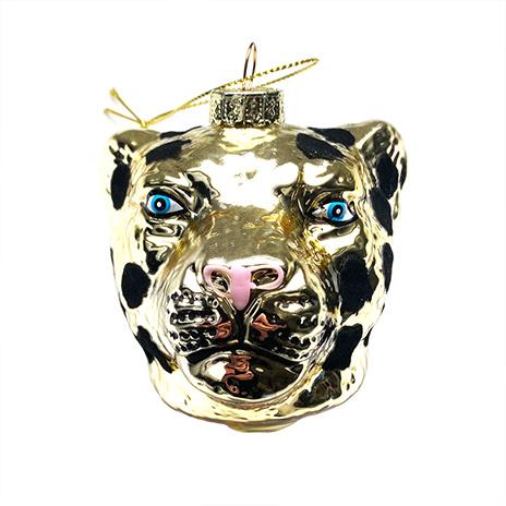Kersthanger van glas in de vorm van een gouden panter