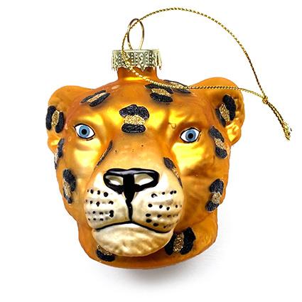Orange glass panther Christmas tree ornament